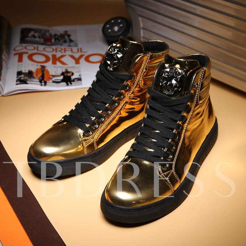 Lace Up Platform High Top Mirror Shoes