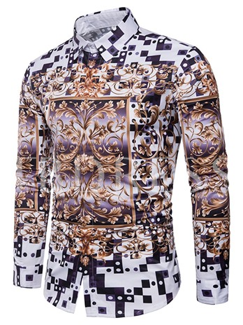 Lapel African Print Men's Long Sleeve Shirt