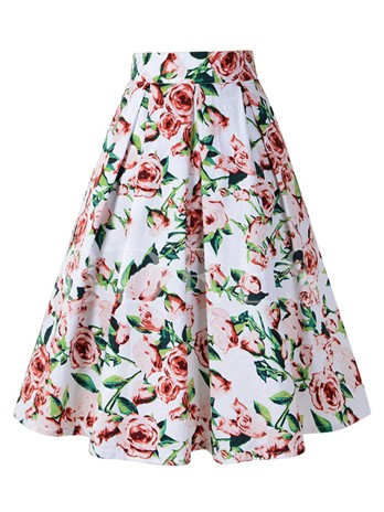 Floral Print High-Waist Pleated Women's Skirt