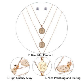 Butterfly Pattern Alloy Multilayer Jewelry Sets