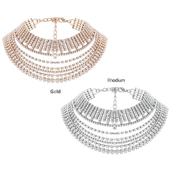 Full Drill Rhinestone Multilayer Torques Choker Necklace