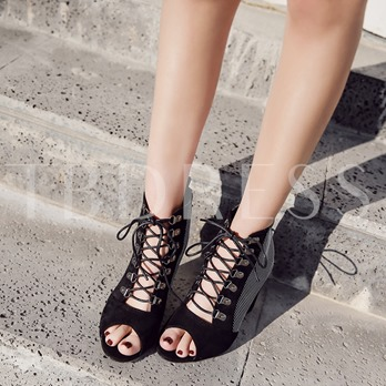 Dot Thick Heel Lace Up Peep Toe Sandal Booties for Women
