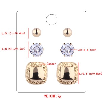 Square Zircon Copper Overgild Earrings