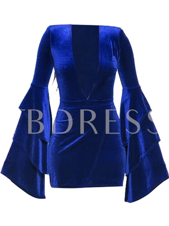 Bell Sleeve Velvet Women's Bodycon Dress