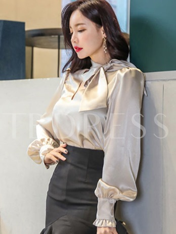 Elegant Puff Sleeve Lace-Up Women's Blouse