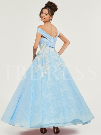 Off-the-Shoulder Ankle-Length Quinceanera Dress