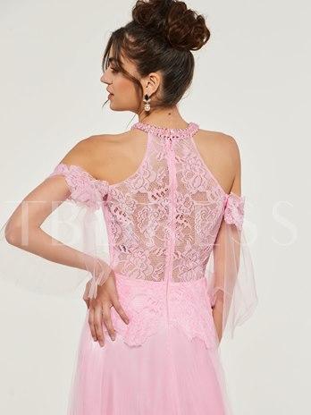 A-Line Lace High Neck Long Evening Dress