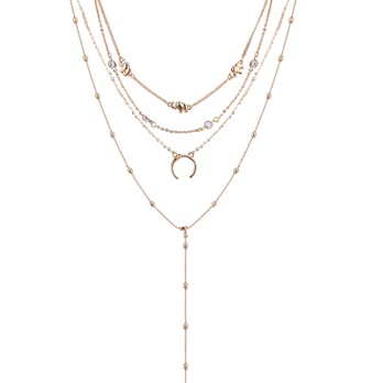 Moon Alloy Simple Multilayer Necklace