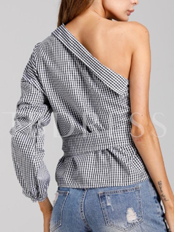 Fashion Lace-Up One-Shoulder-Off Women's Blouse