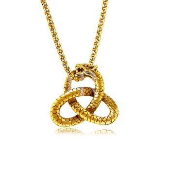 Box Chain Snake Shaped Overgild Men's Necklace