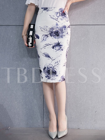 Bodycon Mid-Calf Floral Print Women's Skirt