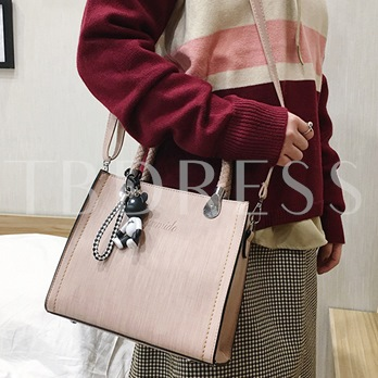 Solid Color Thread Zipper Women Satchel