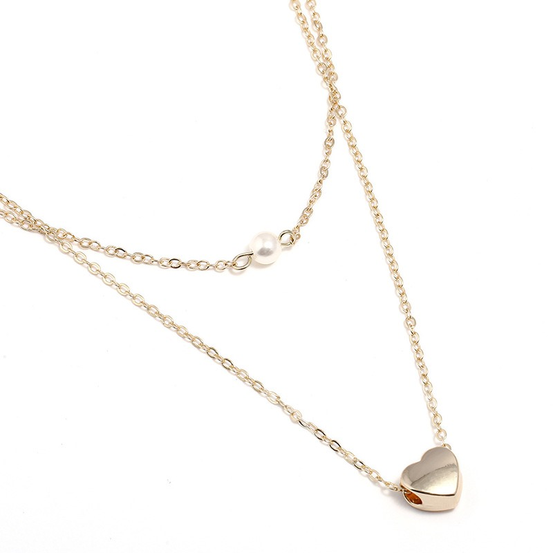 Heart Design Synthetic Pearl Double Necklace