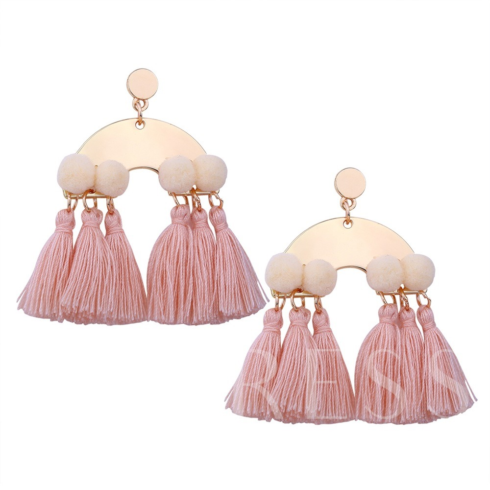 Hairball Tassel Overgild Alloy Earrings