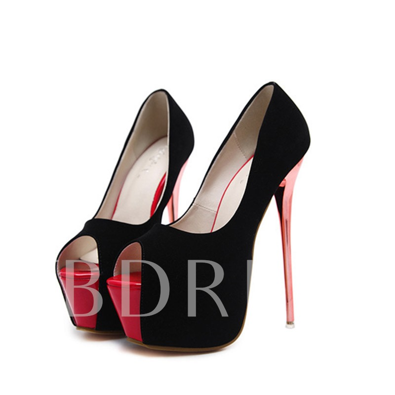 Peep Toe Ultra High Heel Platform Suede Prom Shoes for Women