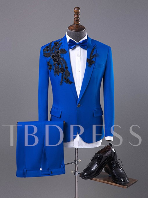 Embroidery Solid Color One Button Men's Dress Suit