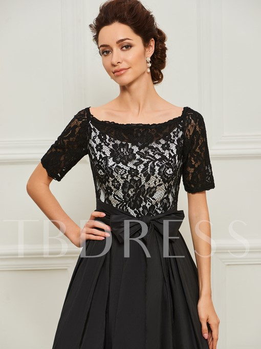 Short Sleeve Black Lace Mother of the Bride Dress