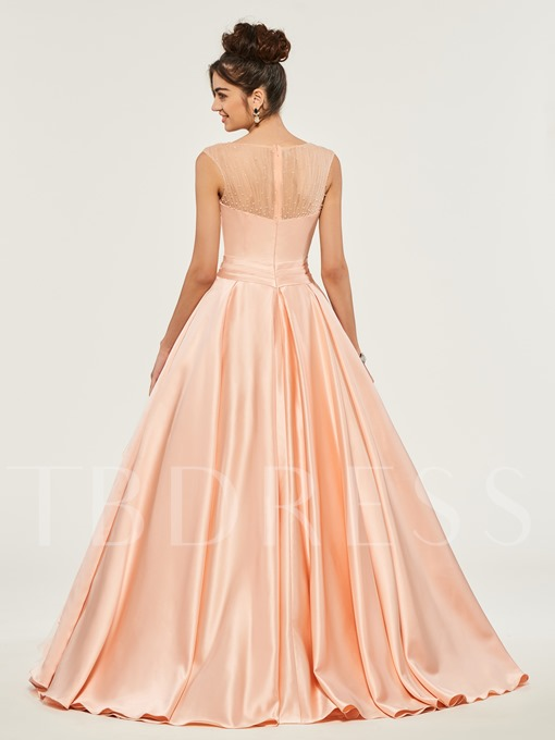 Bateau FLowers Beading Quinceanera Dress