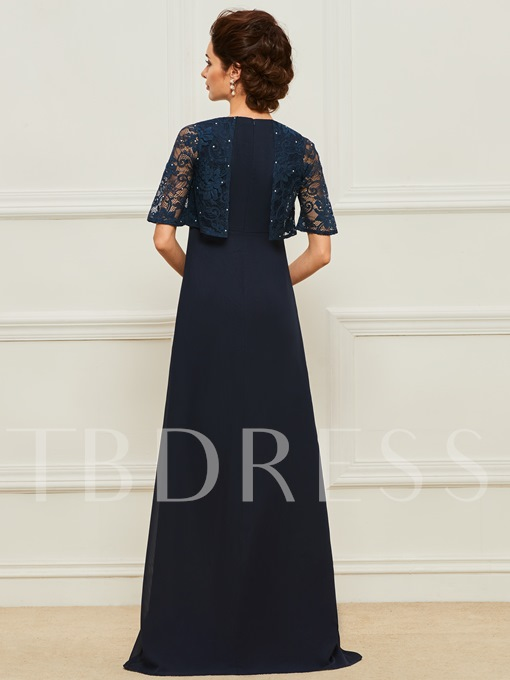 Half Sleeves Lace Top Mother of the Bride Dress