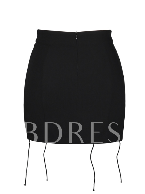 High-Waist Plain Lace-Up Women's Mini Skirt