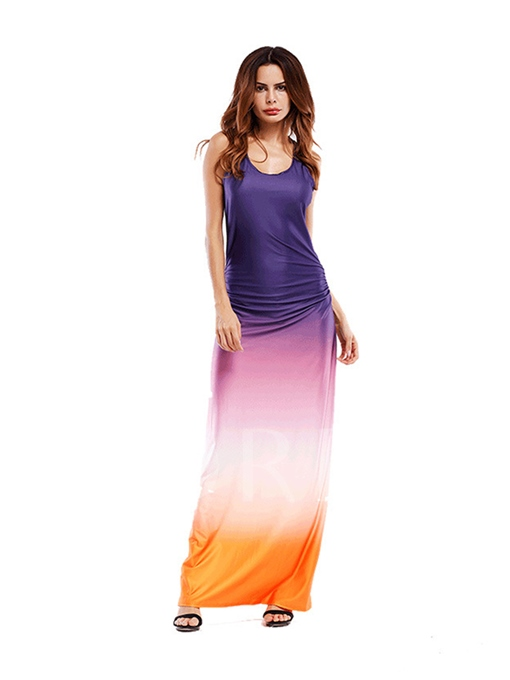 Gradient Ruffled Women's Maxi Dress