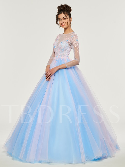 Jewel Appliques Beading Lace Quinceanera Dress