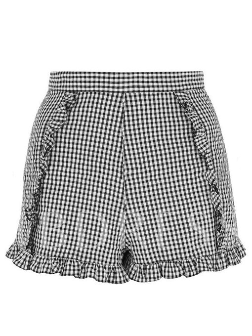 Plaid Falbala Patchwork High-Waist Women's Shorts