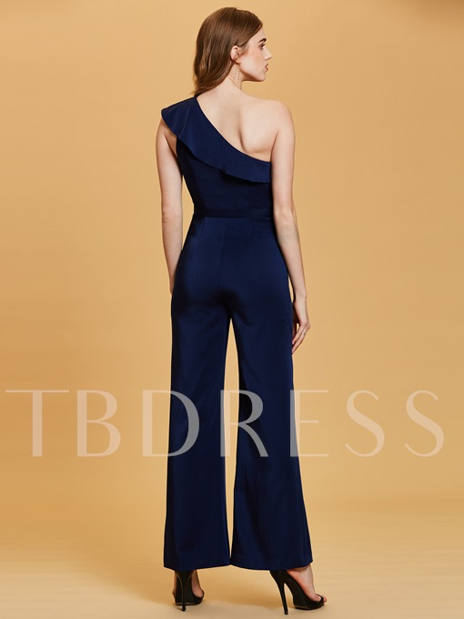 One Shoulder Flouncy Beading Evening Jumpsuits