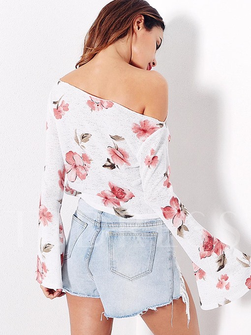 Flare Sleeve One-Shoulder-Off Floral Women's T-Shirt