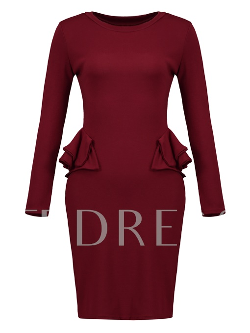 Burgundy Falbala Women's Pencil Dress