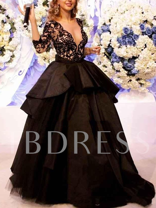 Ball Gown Lace Pick-Ups Sweep Train Evening Dress