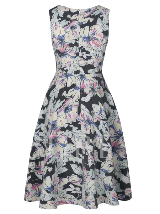 Color Block Floral Sleeveless Women's A-Line Dress