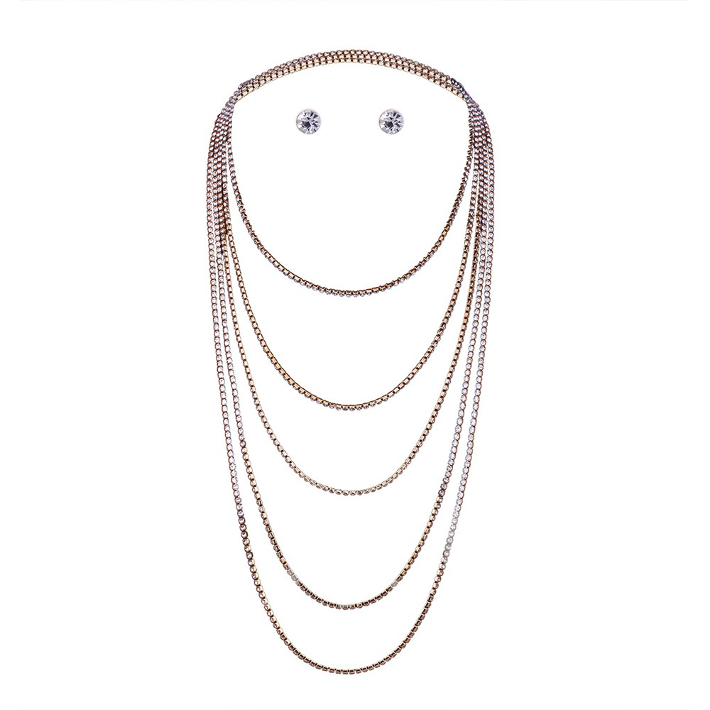 Simple Diamante Multilayer Combination Necklace