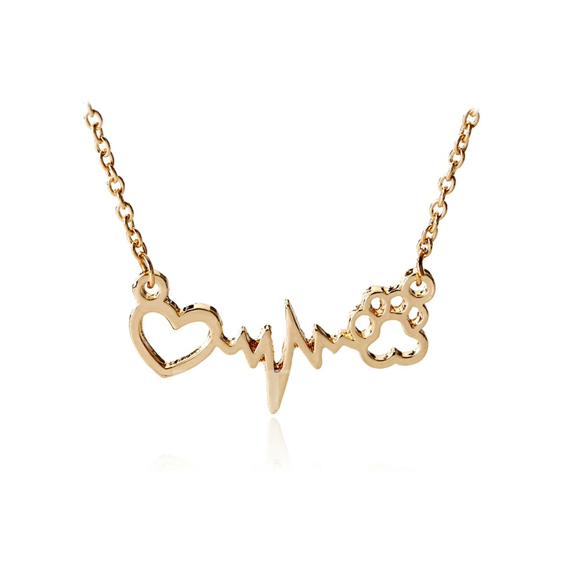 ECG Design Heart Dog Claw Necklace