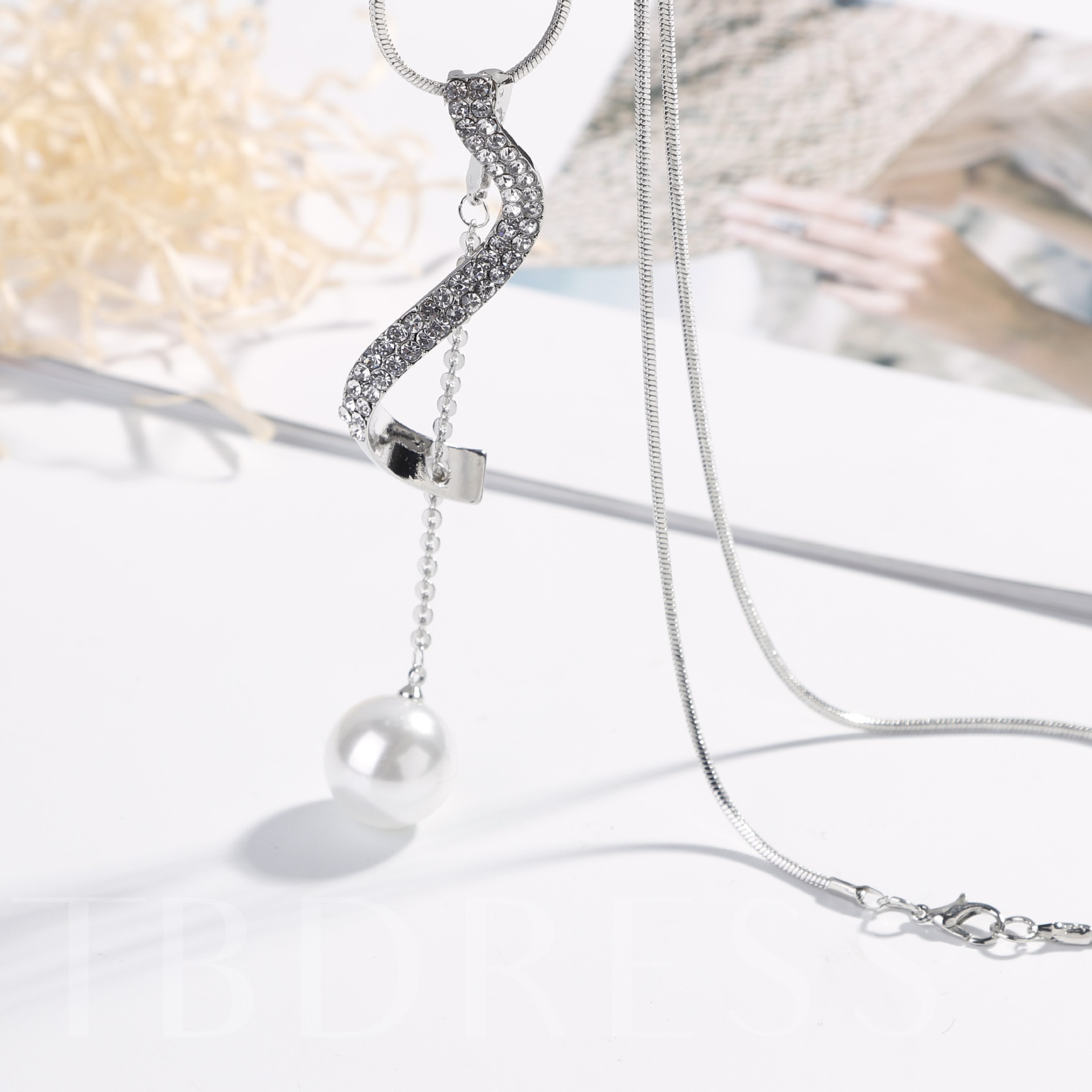 S-Type Imitation Pearl Sweater Chain Necklace