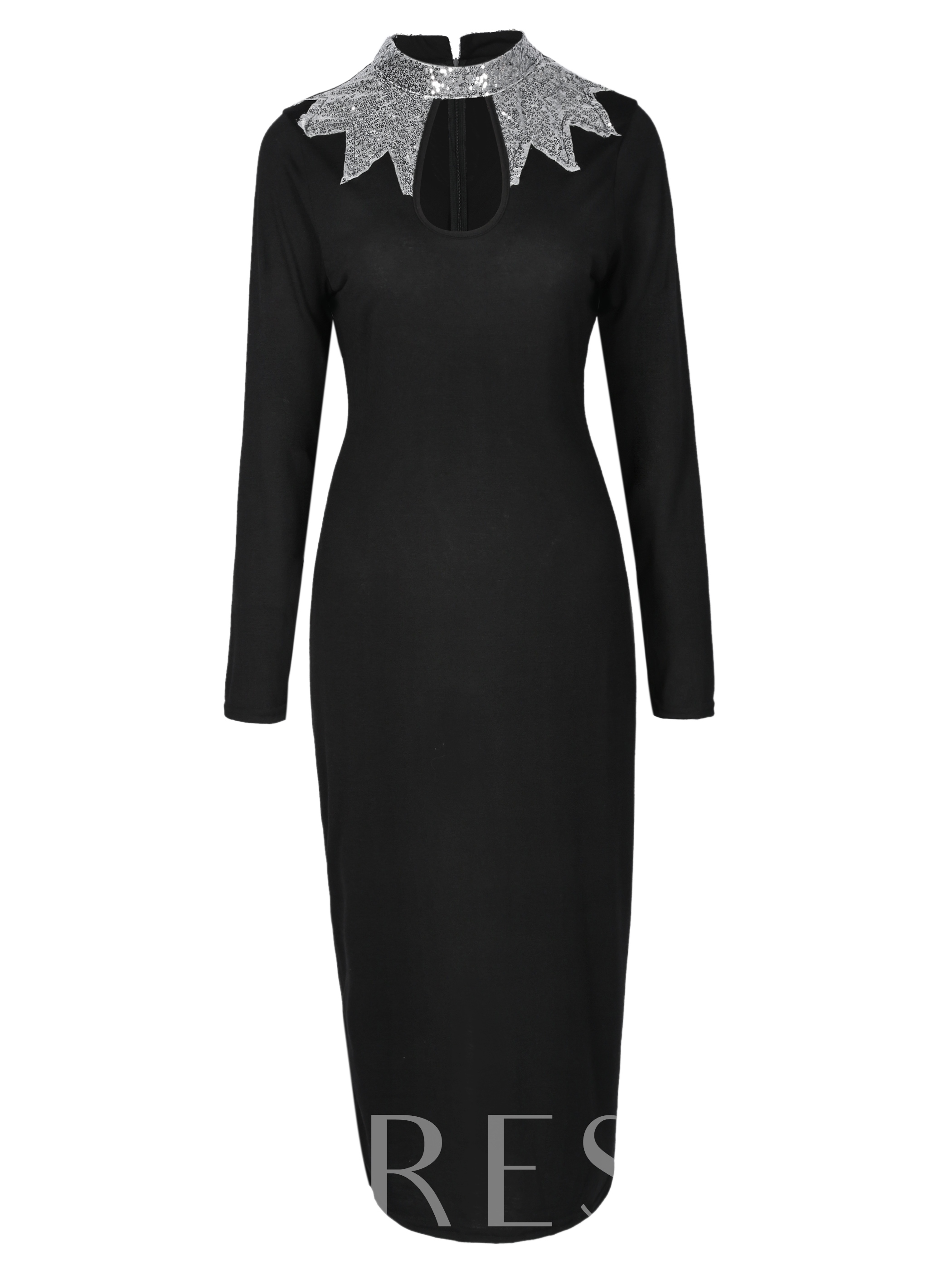 Buy Black Turtle Neck Sequins Women's Bodycon Dress, Spring,Fall,Winter, 13067795 for $19.99 in TBDress store
