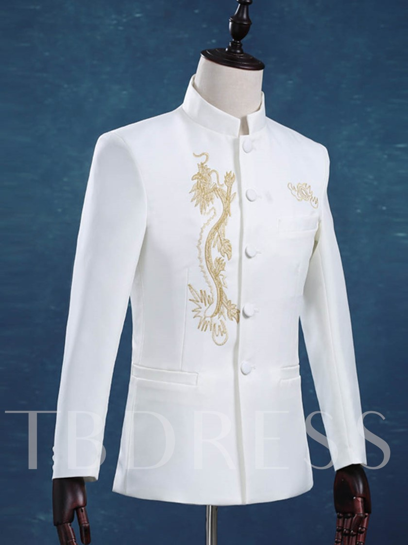 Stand Collar Gold Embroidery Slim Men's Dress Suit