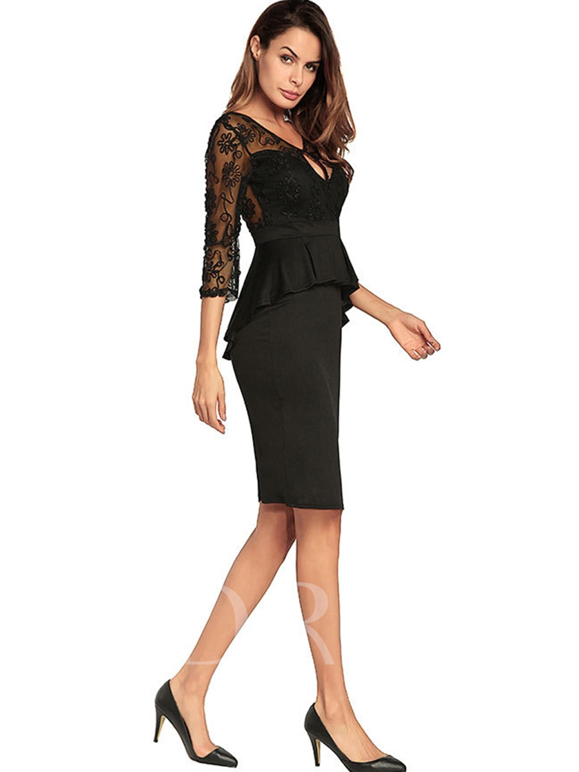 Double-Layered Patchwork Women's Pencil Dress