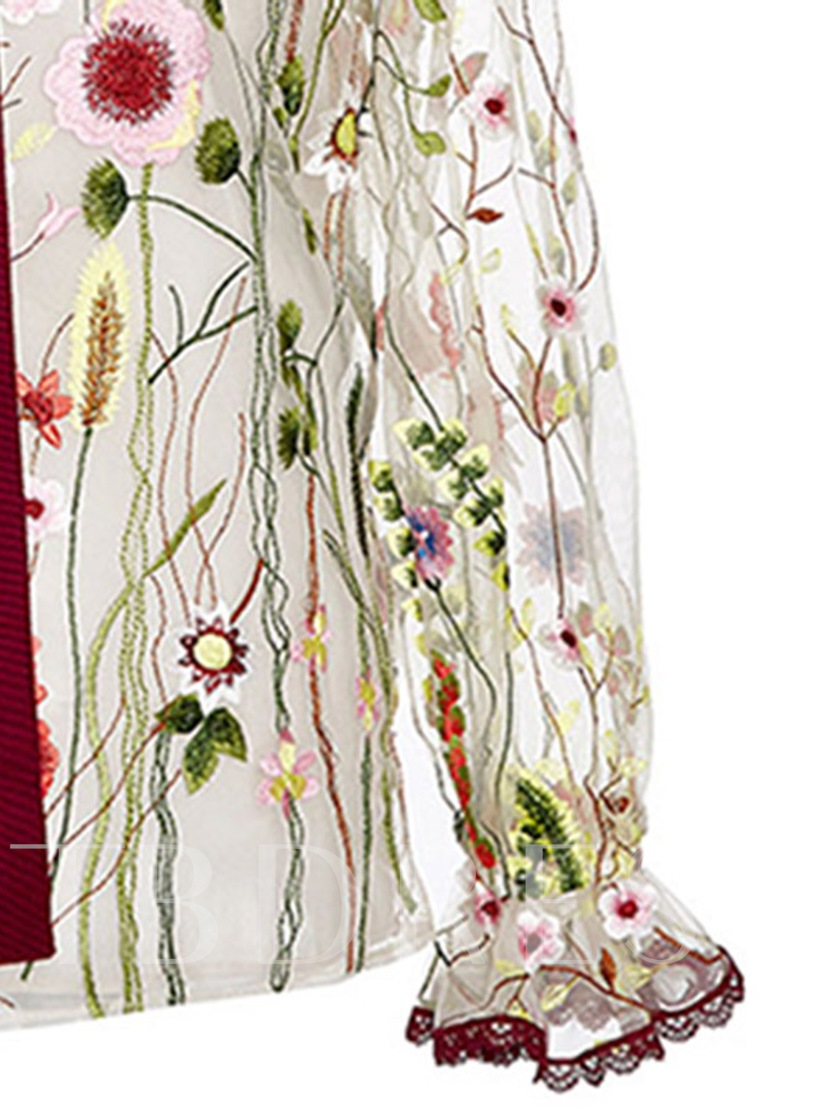 Pastoral Mesh Floral See-Through Women's Blouse