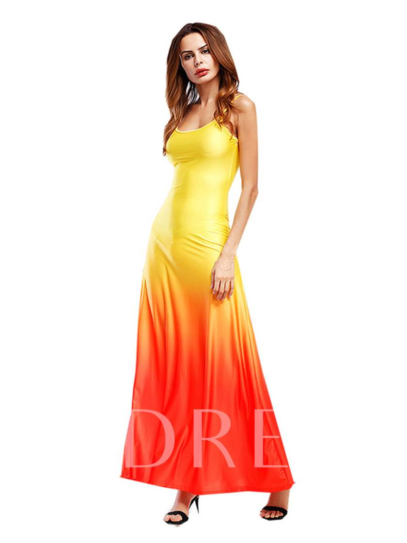 Gradient Spaghetti Strap Women's Maxi Dress