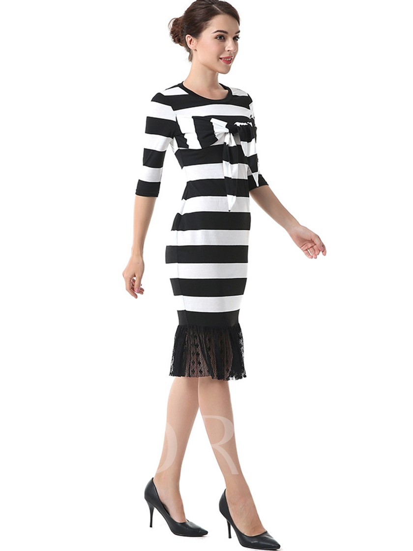 Half Sleeve Knot Striped Women's Sheath Dress