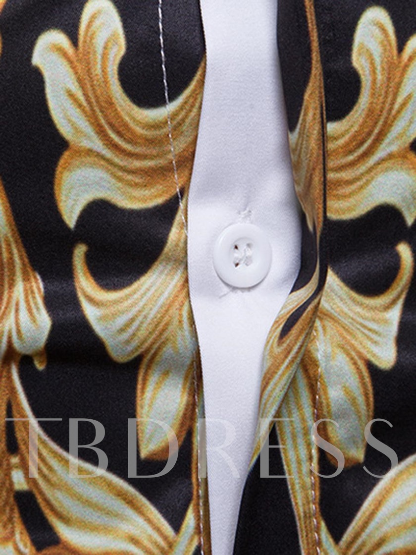 Lapel Golden Print Slim Men's Shirt