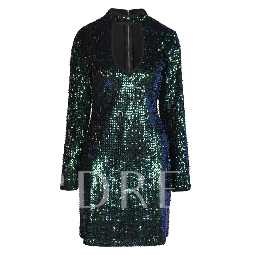 Stand Collar Hollow Sequins Women's Sheath Dress