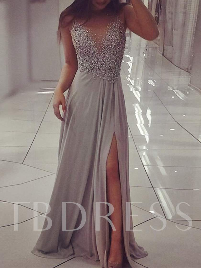 A-Line Beading Scoop Long Split-Front Evening Dress