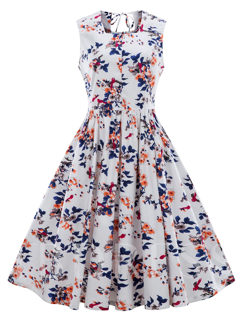Square Neck Floral Women's A-Line Dress
