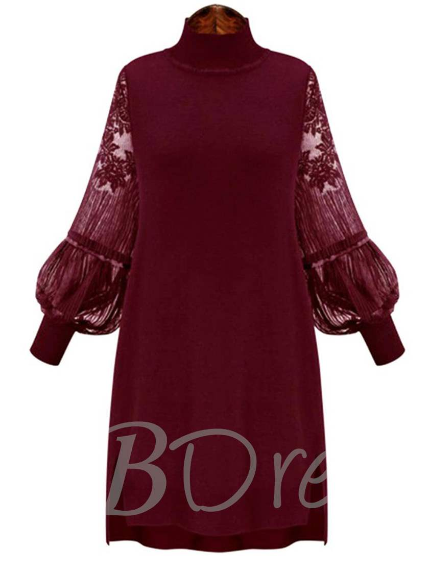 Lace Patchwork Lantern Sleeve Women's Day Dress