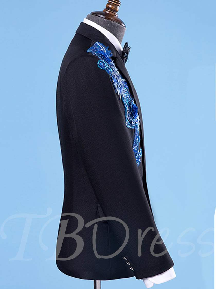 Embroidery Appliques Sequins Beading Button Solid Color One Button Men's Dress Suit