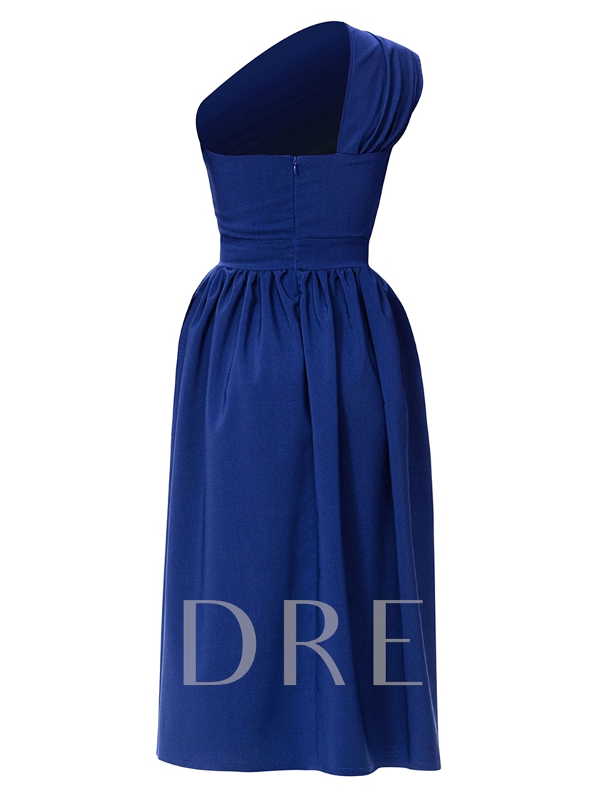 One Shoulder Pleated Women's Day Dress