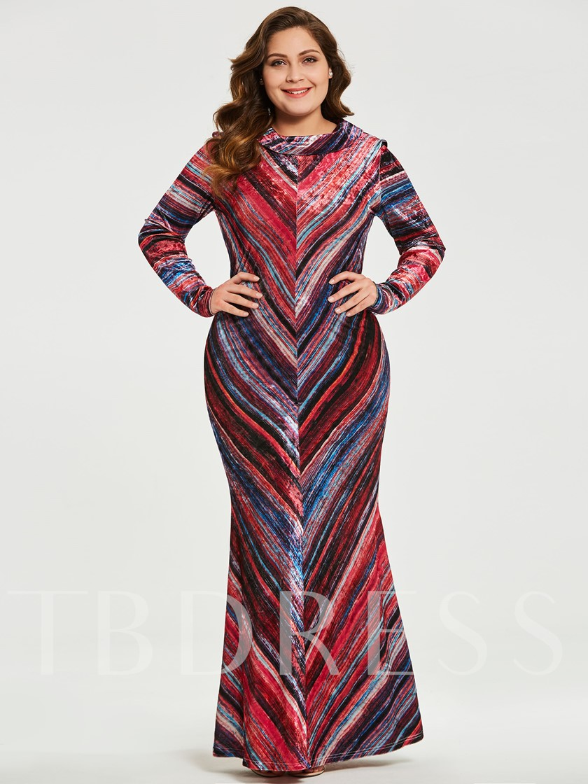 Plus Size Red Plus Size Striped Women\'s Maxi Dress - Tbdress.com