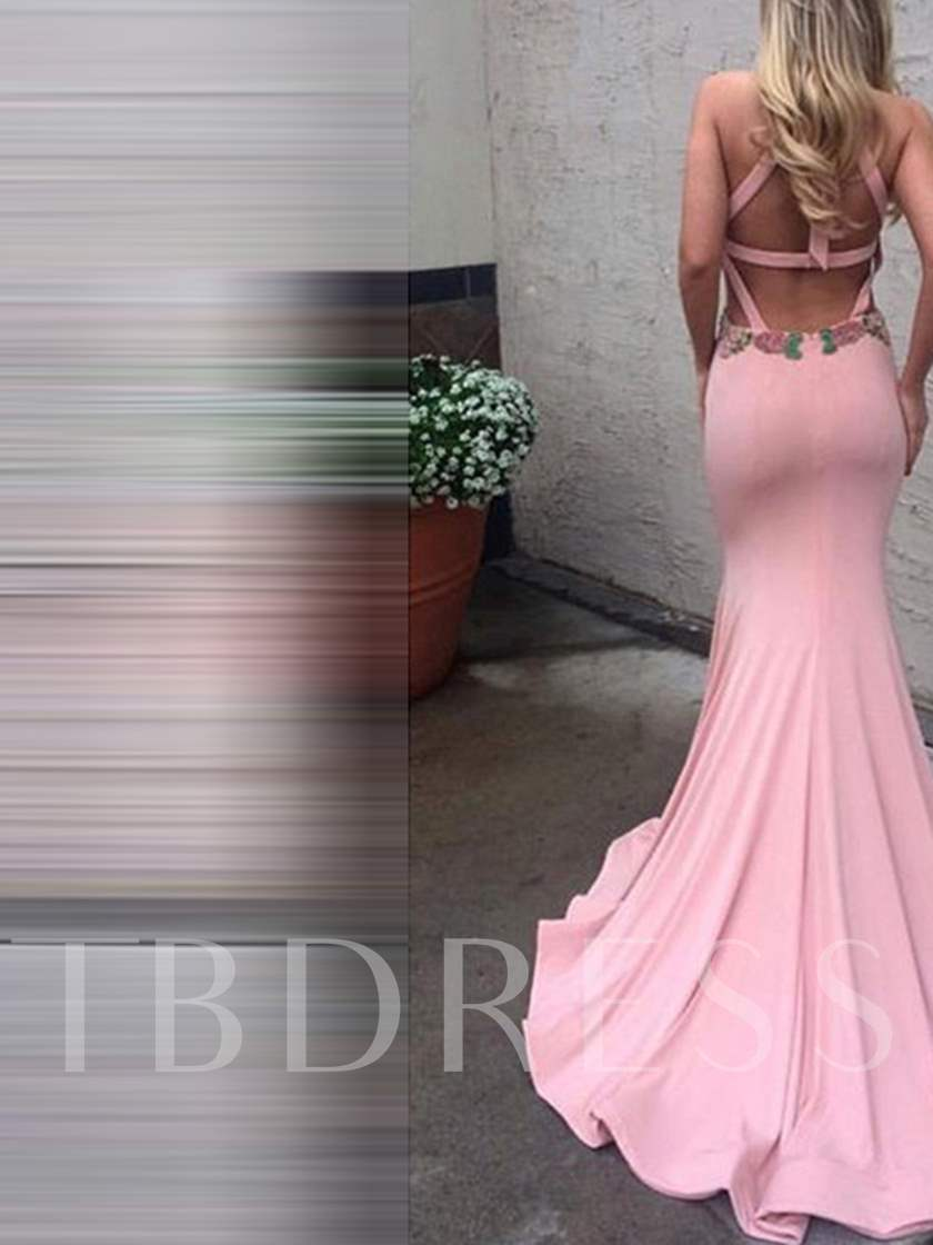 Scoop Hollow Embroidery Court Train Evening Dress